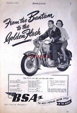 1951 B.S.A. 'Golden Flash' 650cc OHV Twin Motor Cycle AD - Vintage Print ADVERT