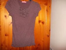 Süße braune und weiße Baumwolle Republik Top, Größe 6-8
