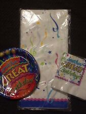 Another Great Birthday Party Supplies Lot Of 3 Table CoverPlates Napkins NOS NEW