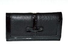 Portefeuille noir femme faux cuir porte-monnaie clutch bag sac à main vernis G3