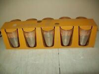 vintage Jeannette glass 10 OZ AMBERGLO tumblers NEW OLD STOCK in the box