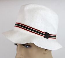 New Gucci White Straw Fedora Hat w/GRG Web XS 309141 9599
