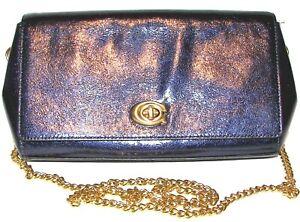 COACH Metallic Blue Leather Purse Shoulder bag Clutch Crossbody NWT