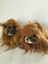 2 Vintage 1967 Kamar Dakin pekingese Dog Plush Stuffed Animal Long Haired 9""