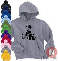 Naughtees Clothing Hoodie Poly Cotton Blend Banksy Hip Hop Rat Hoody Sports New