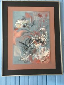 """""""Peonies in Pastel"""" impressionistic pastel drawing on grey background"""