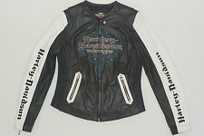 Harley Davidson Women KALEIDOSCOPE Colorblock White Leather Jacket 97137-09VW XL