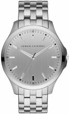 A|X Armani Exchange Men's Hampton Silver Tone Diamond Accent Watch 46mm AX2170