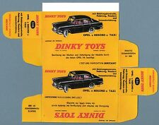 "DINKY TOYS 546 : OPEL "" REKORD "" TAXI boite repro reprobox refabrication copie"