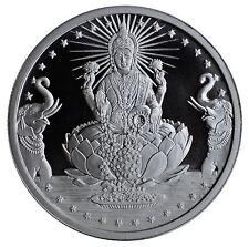 Lakshmi Silver Coin - Shubh Laabh Swastik Hindu Goddess Laxmi Token Coins