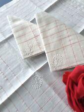 Linge ancien 3 mouchoirs en fil de lin Monogramme - L - Broderie MC/107