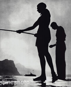 1936/88 Vintage Young Men Beach Fishing Greece By HERBERT LIST  Photo Art 16X12