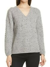 NWT VINCE V-Neck Cable Knit Dolman Sleeve Wool Blend Sweater, Grey, Large, $365
