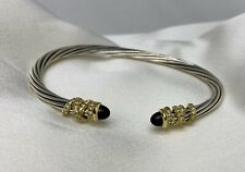 $2,300 David Yurman S.S & 18k Helena 4mm Bracelet with Black Onyx and Diamonds