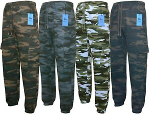 Mens Cargo Combat Joggers Camouflage Bottoms with Zip Pockets M-3XL by Beebizco
