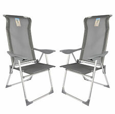 2x Alu Klappstuhl Garten Stuhl Camping Hochlehner verstellbar stabil Aluminium