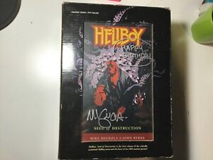 Signed by Mike Mignola! HELLBOY Seed of Destruction Book and Figure Box Set.