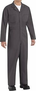 Red Kap Men's Long Sleeve Twill Action Back Coverall Workwear, Charcoal, 34 Reg
