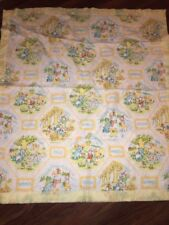 Vintage Cannon Mills Co Baby Blanket Seasons Bunny Bear Cat Yellow Nylon Trim