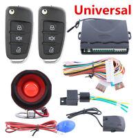 Car Alarm System w/ Flip Key Remote Control Central Door Locking Keyless Entry