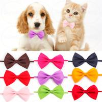 x2 Ribbon Bow Adjustable Collar Neck Tie Cat Kitten Small Pet Puppy Colourful UK