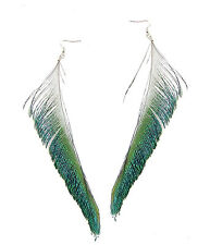 Long Peacock Sword Feather Earrings Boho Festival Green Vintage Silver Drop 9AB