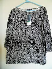 Women Jones New York Sport  Black Camellia Floral top shirt Sz L