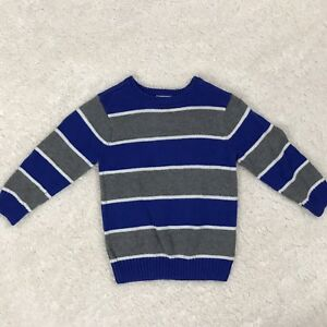 Children's Place Boys Blue and Gray Striped Sweater Size 4T