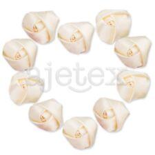 10pcs Satin Ribbon Flower Rosebuds Wedding Appliques Decoratoin DIY Ivory IF