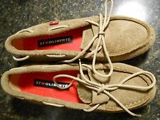 Oliberte mocha suede Niami leather boat shoes flats display size 7M New no box