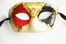 VENETIAN MASQUERADE ANTIQUED PAPER MACHE HALF MASK  + MUSIC NOTES NEW