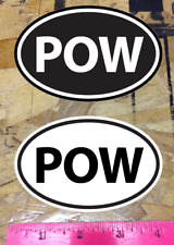 POW powder Ski Snowboard sticker decals Black and White - 2 for 1