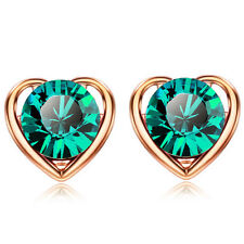 Gold & Emerald Green Crystal Medium Size Presentable Stud Earrings E820