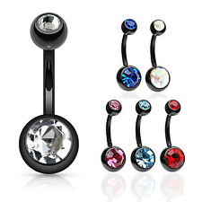 6PC LOT BLACK TITANIUM IP ASSORTED COLOR CZ GEM BELLY BUTTON NAVEL RING PIERCING