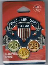 Beautiful Large 2012 London USA Olympic Team Medal Count Pin New in Package