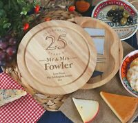 25th Wedding Anniversary Couple Gifts Personalised Engraved Cheeseboard Gift Set