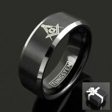 Tungsten Men's Black Masonic Symbol Freemason's Band Ring Size 8-15