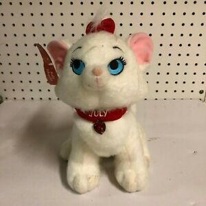 """Disney Store Aristocrats Marie Plush Cat With July Birthstone & Collar 10"""" Tall"""