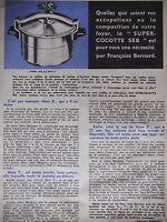 PUBLICITÉ DE PRESSE 1961 COCOTTE SEB PAR FRANÇOISE BERNARD - ADVERTISING