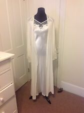 Victoria's Secret Bridal Ivory Silk Long 2-Pc. Robe/Gown Set, Pearl Embr., M/L