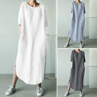 Women Cotton Ethnic Long Shirt Dress Asymmetrical Split Hem Midi Dress Plus Size