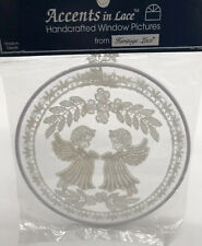 Vintage Accents in Lace Round White Angel Window Picture Christmas New
