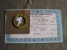 1932 BSA  TAN  ATHLETICS  CUT-SQUARE  Merit Badge w/ CERT CARD  athletics