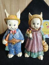 "BUNNY RABBIT FIGURINE Set of 2 Couple Boy Girl 5"" Resin Easter Decor"