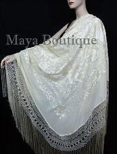 "Ivory Flamenco Embroidered Silk Piano Shawl Wrap Flowers & Birds 88"" Maya"