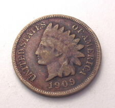 1909 Indian Head Penny Fine One Cent Coin