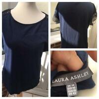 Laura Ashley Size 14 T Shirt Navy Blue Linen Blend Lace sleeve VGC g27