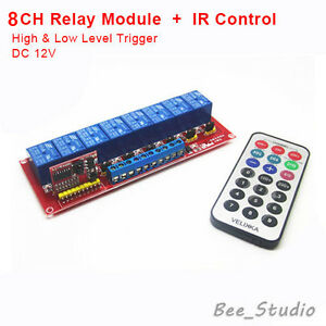 12V 8 CH Channel IR Infrared wireless Remote Control Switch Relay Module Board