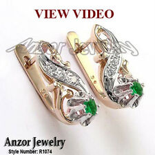 18k Rose and White Gold Diamond and Emerald Earrings Russian Jewelry 18K