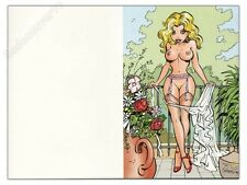 Carte postale double WALTHERY Pin Up Blonde 15x20 cm